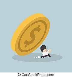 Businessman running away from falling dollar coin, VECTOR,...
