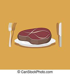 Beef Steak Cutlery: knife and fork Vector illustration