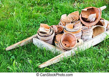 broken flower pots - Broken ceramic flower pot in garden