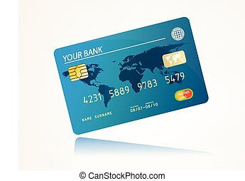 bank card - High detail illustration of a plastic credit...