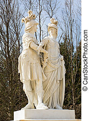 Statue from gardens of Schonbrunn palace in spring Statue...
