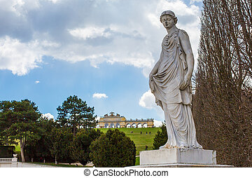 Statue from garden of Schonbrunn palace and Gloriette -...