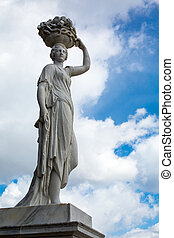 Statue from gardens of Schonbrunn palace in spring - Statue...