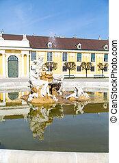 Danube, Inn, and Enns fountain statues at the Schonbrunn...