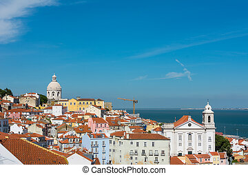 Lisbon skyline with National Pantheon and St Stephen church...