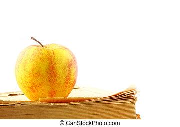 livro, e, maçã,