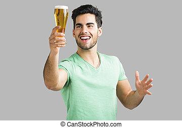 jovem, homem, bebendo, Cerveja,