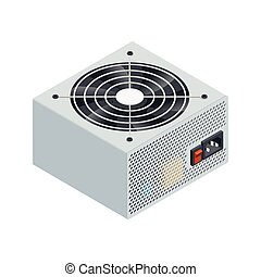 Power supply isometric detailed icon vector graphic...