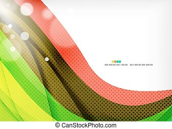 Green and red line swirls, modern abstract background