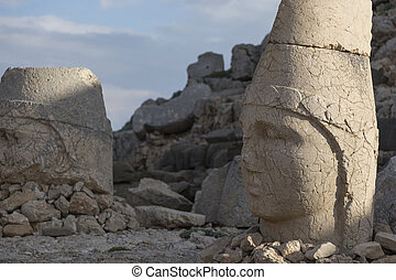 Stone head statues at Nemrut Mountain in Turkey - Nemrut is...