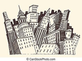 Big City Concept Architecture Engraved Vector - Big City...