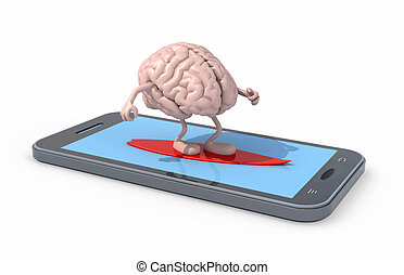 brain that surfing on smartphone screen - human brain with...