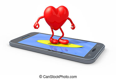 heart that surfing on smartphone screen