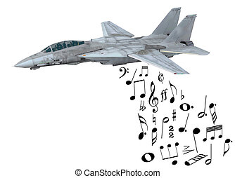 warplane launching musical notes instead of bombs, 3d...