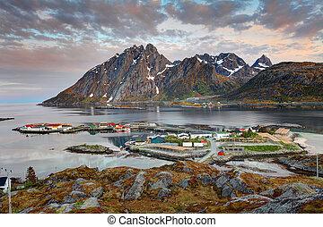 Village Sund in Norway at sunrise