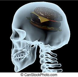 X-ray of a head with the burger instead of the brain, 3d...