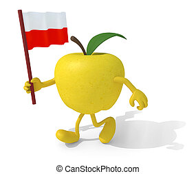 apple with arms, legs and flag on hand