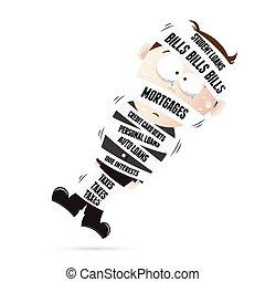 Mummified by Debts - Vector cartoon illustration of a man...