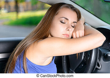 Pleasant lady sleeping in car - Feeling tired Attractive...