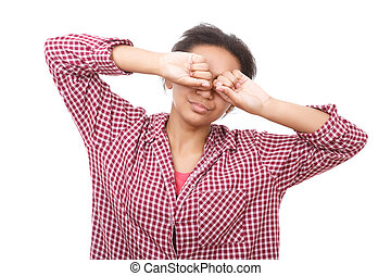 Young woman rubbing her eyes - Clearing out Pretty youthful...