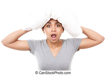 Pretty mulatto girl with pillow on head - Feeling confused...