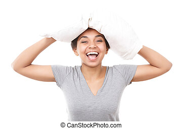 Pretty mulatto girl with pillow on head - Having fun Young...