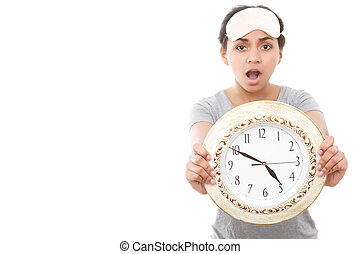Pretty mulatto girl posing with clock - Time is running...