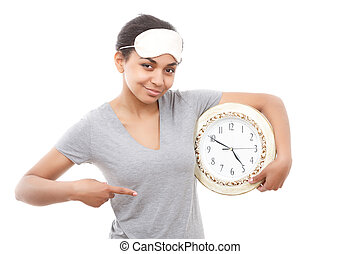 Pretty mulatto girl posing with clock - Here it is Pretty...