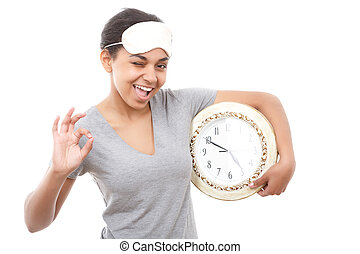 Pretty mulatto girl posing with clock - Everything is ok...