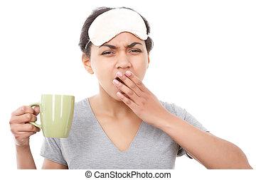 Pretty mulatto girl yawning with cup - Getting ready...