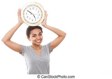 Pretty mulatto girl posing with clock - Feeling funny Funny...