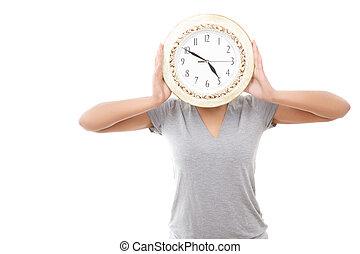 Pretty mulatto girl posing with clock - Missis clock...
