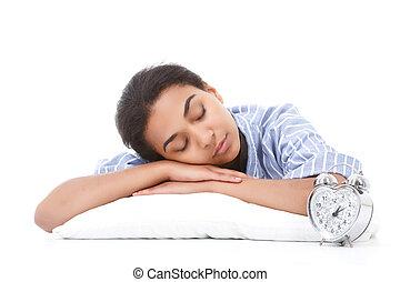 Young mulatto woman sleeping on pillow - Sleeping beauty...