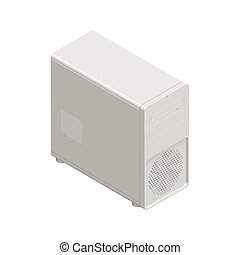 Computer chassis detailed isometric icon vector graphic...