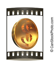 Gold coin with dollar sign. The film strip