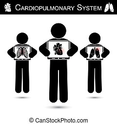 Cardiopulmonary System . Human hold monitor screen and show...