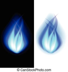 Blue fire vector background - Blue fire photo realistic...