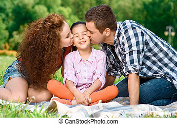 Happy family on a picnic