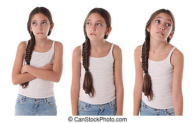 Collage of a young girl bored and angry. Isolated on white...