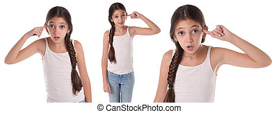 Collage of a young girl doing the crazy sign. Isolated on...