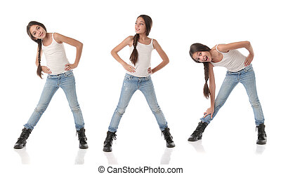 A happy young girl doing different poses. Isolated on white...