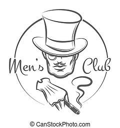 Mens Club Logo - Mens Club logo or emblem. Man in the hat...