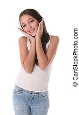 Lovely young girl with her hands near the head. Isolated on...