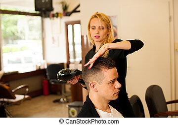 belleza, peluquero, Salón, cliente, pelo, corte, hembra,...