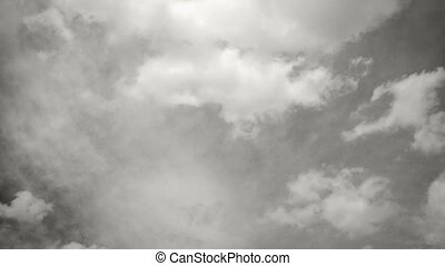 Clouds in b&w timelapse - Timelapse of nice white clouds in...