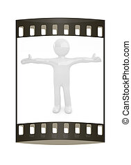 3D man happy man with wide open hands . The film strip - 3D...