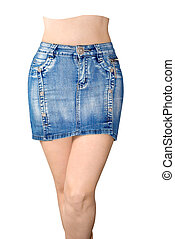 Blue jean miniskirt is the front view