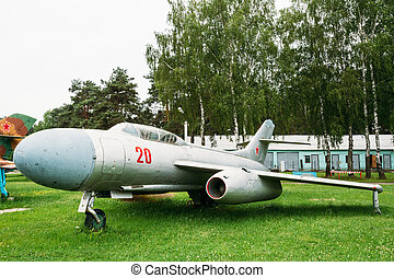 Su-7 Russian Soviet fighter-bomber developed in 1950s,...