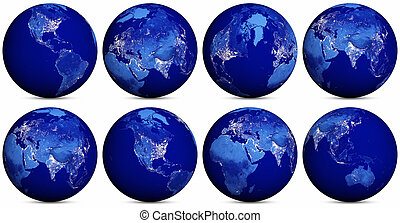 Earth night icons set. Elements of this image furnished by...