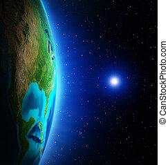 planeta, De, espaço,